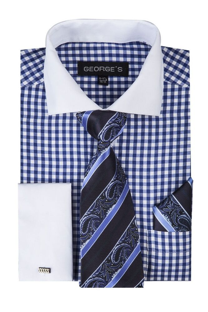 Men 39 s checks design french cuff dress shirt set 40 blue for Mens dress shirts with contrasting collars and cuffs