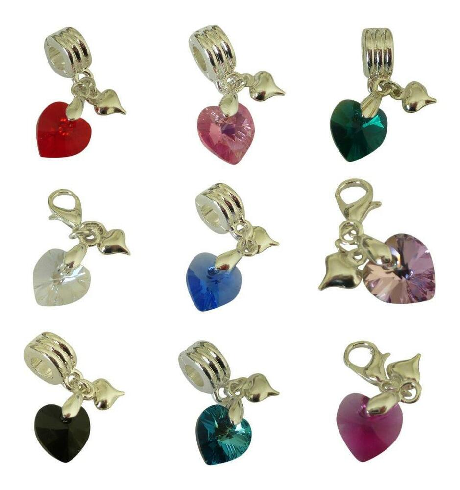 swarovski element crystal heart fit charm bracelet bail or clip multi buy option ebay. Black Bedroom Furniture Sets. Home Design Ideas