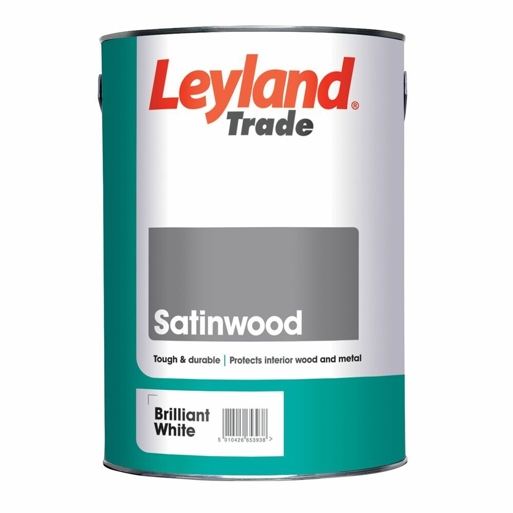 Leyland Trade Satin Wood Brilliant White Paint For Woodwork Hard Wearing Finish Ebay