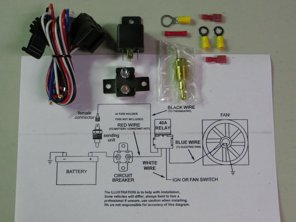 universal electric cooling fan relay switch kit sbc bbc. Black Bedroom Furniture Sets. Home Design Ideas