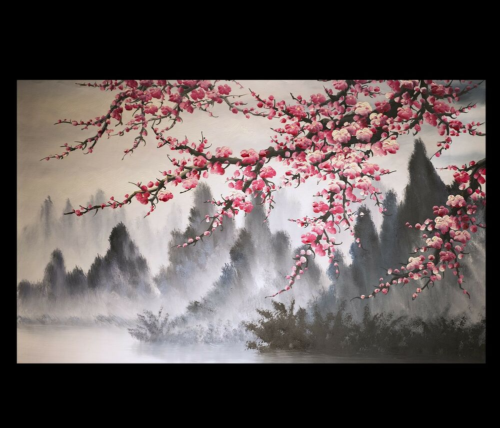 Modern wall art paintings art prints on canvas japanese for Cherry blossom canvas painting
