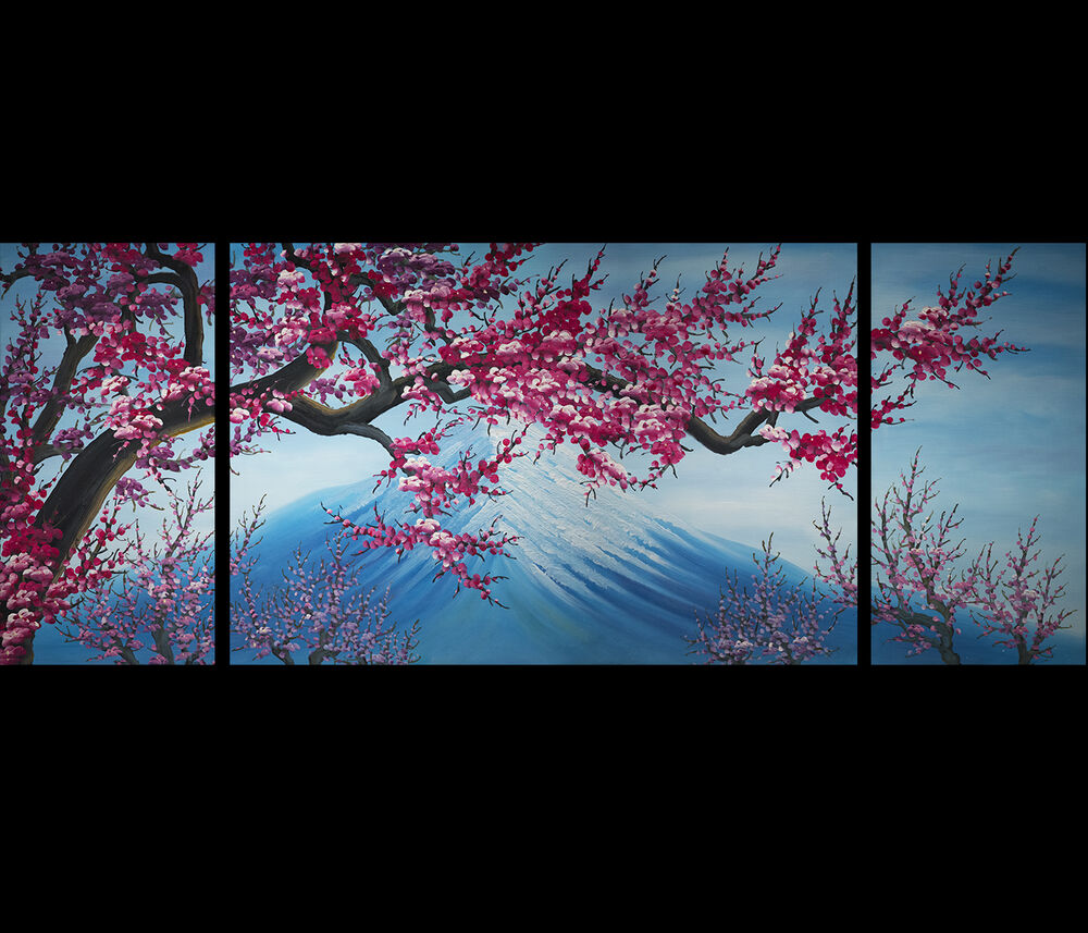 Modern contemporary abstract art framed canvas wall art for Cherry blossom mural works