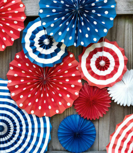 Set of patriotic hanging paper fans 4th of july party for 4 of july decorations