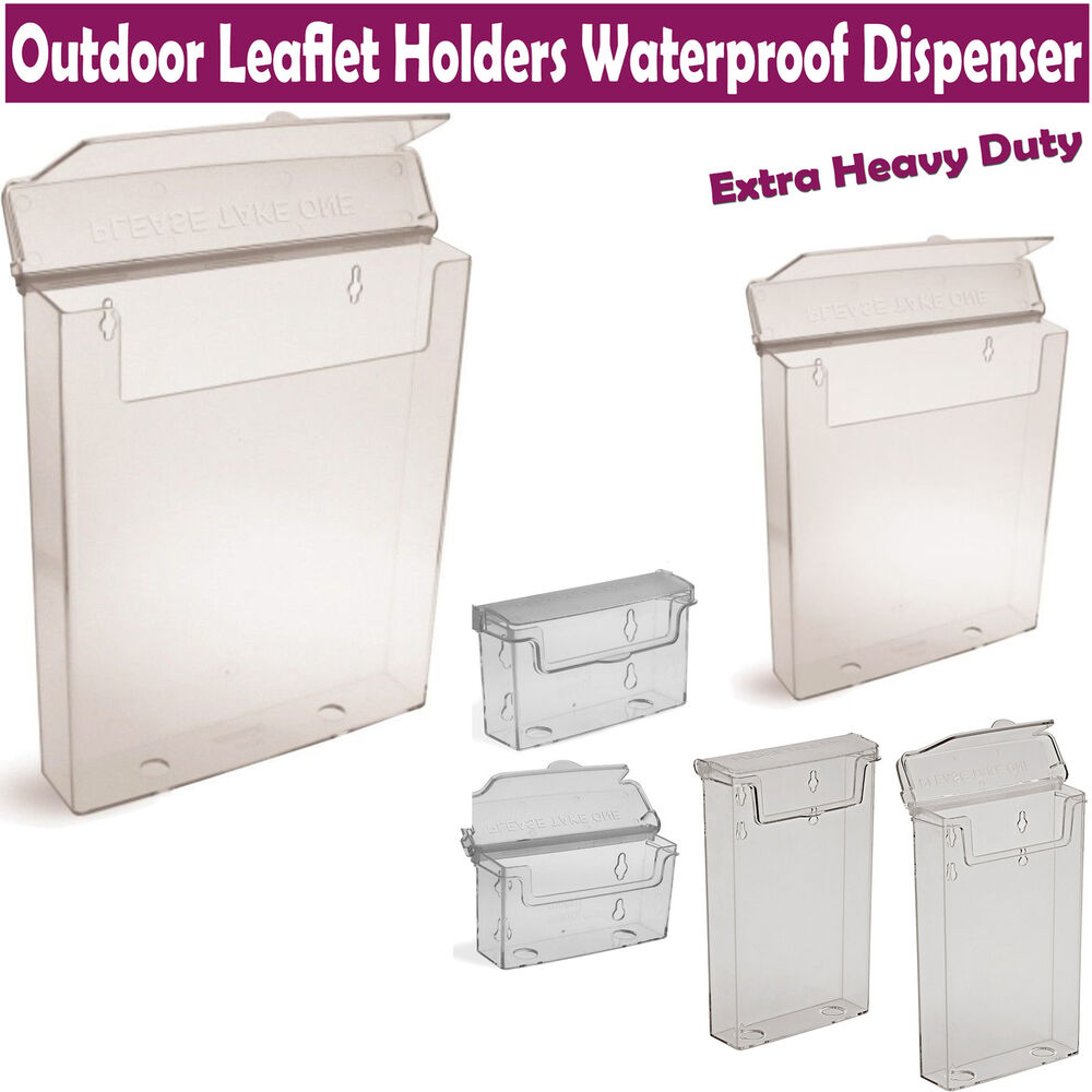 A4 A5 Dl Trifold Outdoor Leaflet Holders Waterproof Dispenser Exterior Display Ebay