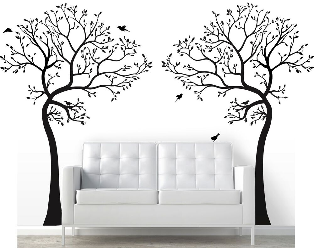 2 x 7ft large wall decal tree with birds deco art sticker for Big tree with bird wall decal deco art sticker mural