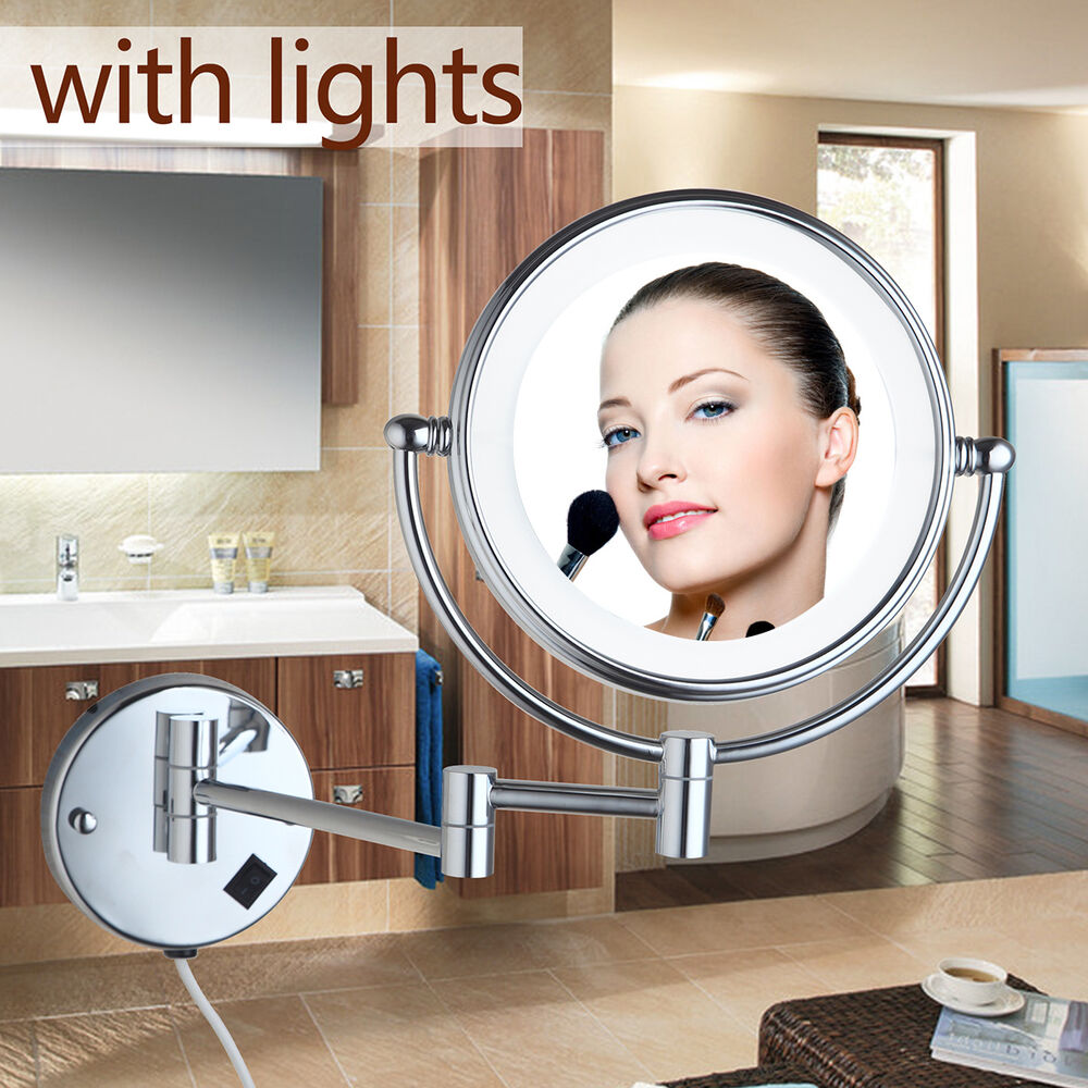 Round Beauty Makeup Cosmetic Mirror Normal Wall Mounted Mirror with LED Light : eBay
