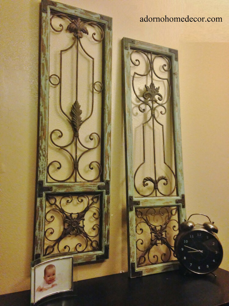 Old Vintage Wall Decor : Distressed metal wood wall panel set antique vintage