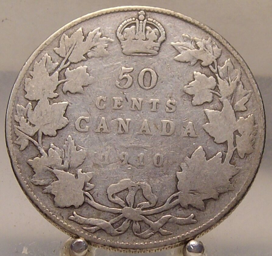 1910 Canada Silver 50 Cents Old Sterling Silver Fifty Cent Coin Ebay