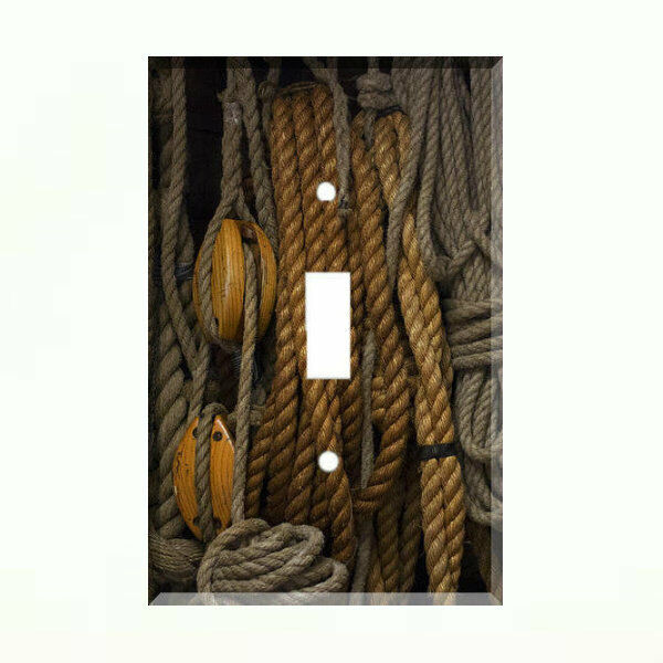 Nautical rope pulley light switch plate wall cover for Decorating with pulleys