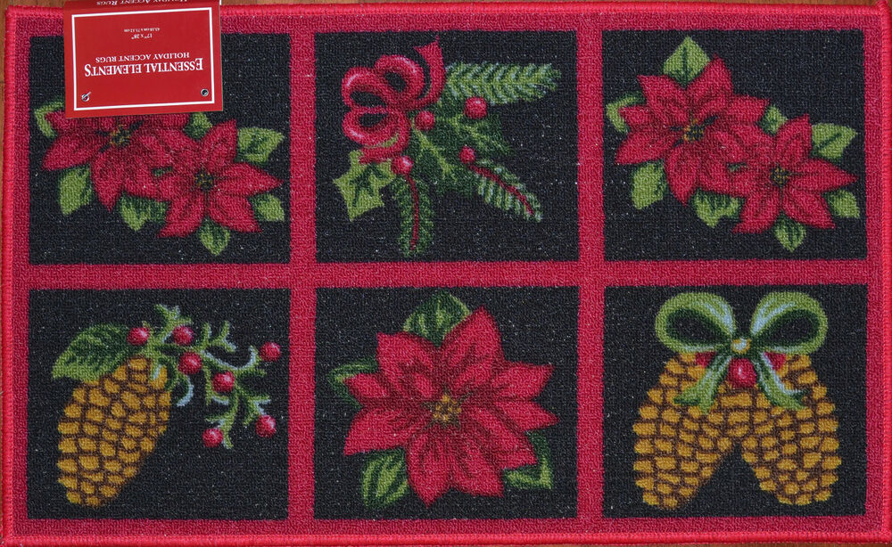 Christmas Poinsettia Kitchen Mat Holiday Flower Rug