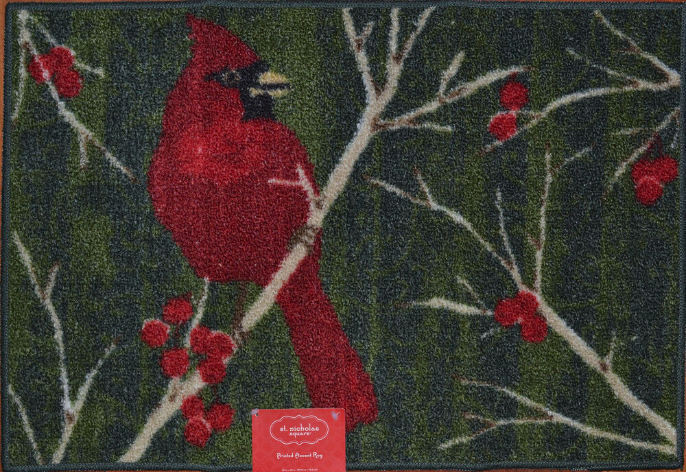 Red Cardinal Kitchen Mat Holiday Winter Bird Rug Berry