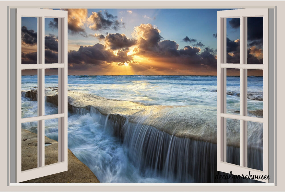 Ocean sunset beach window view repositionable color wall for Beach view wall mural
