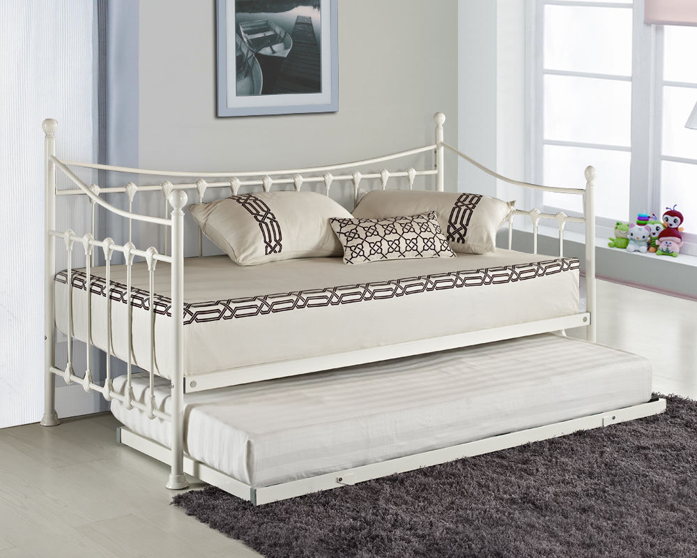 Elenor metal guest day bed with free pull out trundle for Cheap white twin bed