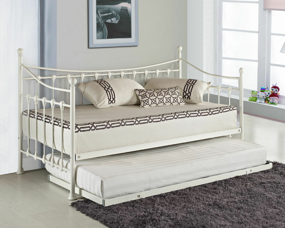 Elenor Metal Guest Day Bed with Free Pull Out Trundle White eBay