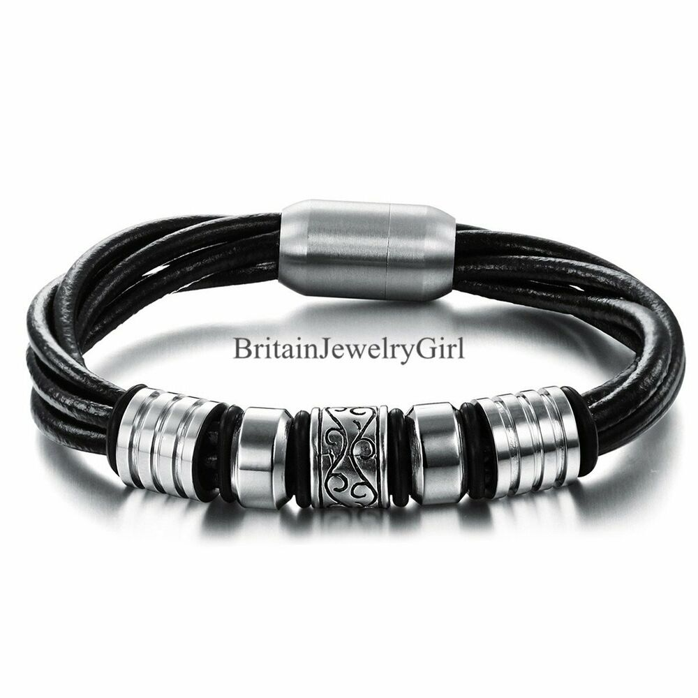 Stainless Steel Bracelet Charms: Unisex Men's Multilayer Leather Stainless Steel Magnetic