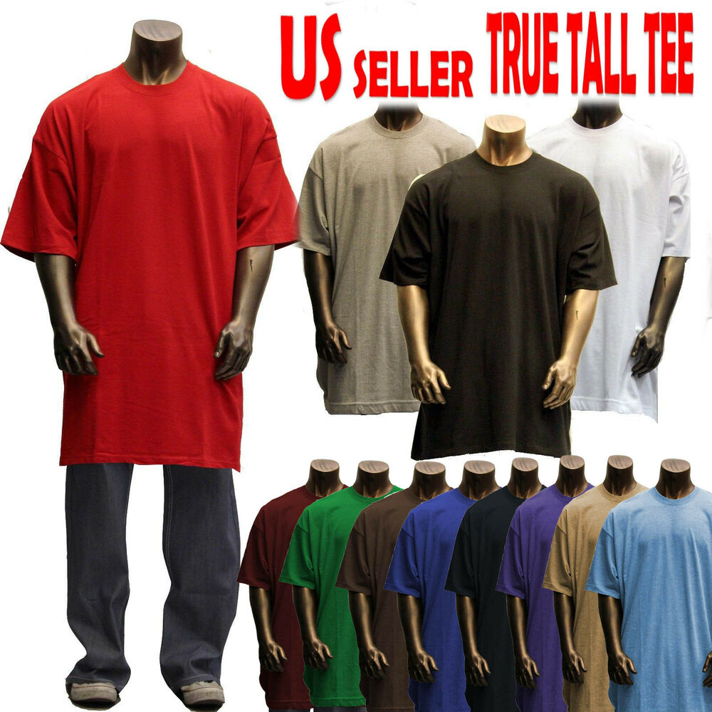 Big and tall tee men heavy weight plain s s t shirts crew for Tall mens dress shirts