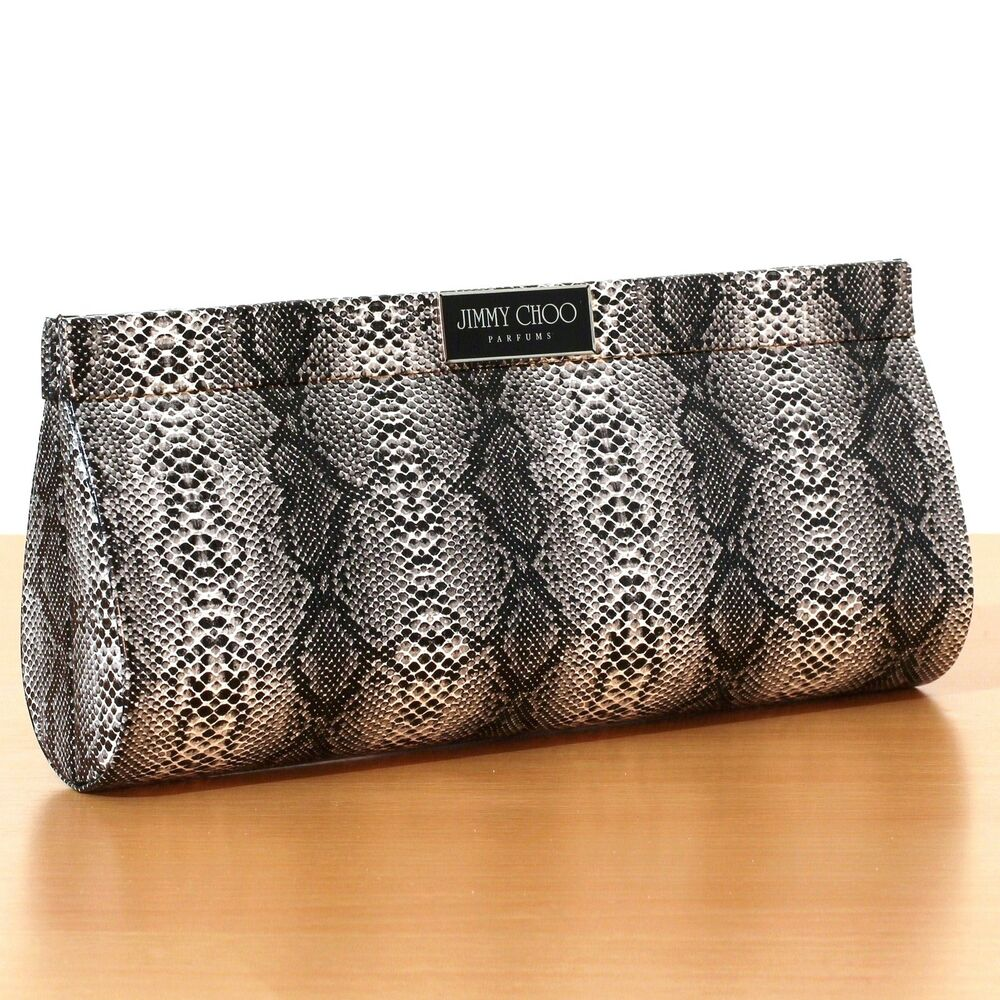 genuine jimmy choo perfume clutch designer snakeskin purse goes with party heels ebay. Black Bedroom Furniture Sets. Home Design Ideas