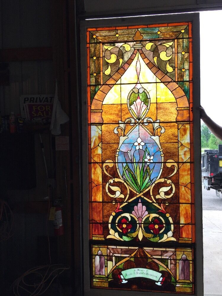 Ca14 antique 1890s stainglass landing window ebay for 1900 stained glass window