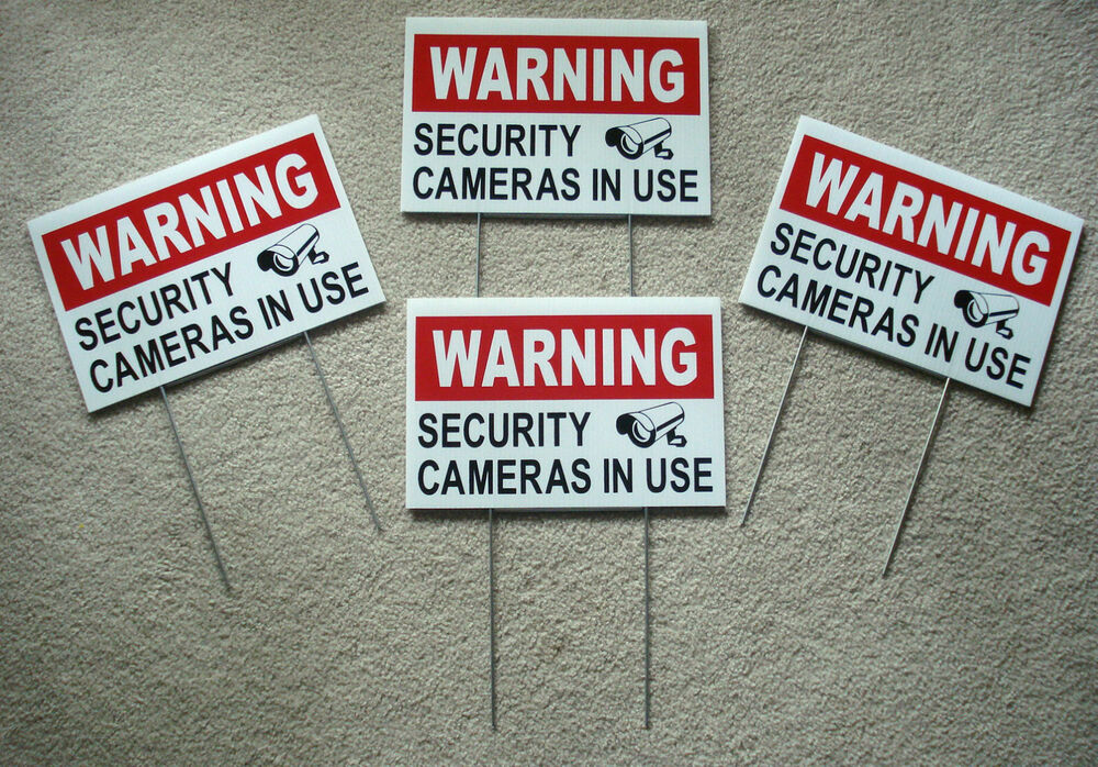4 Warning Security Cameras In Use Coroplast Yard Signs