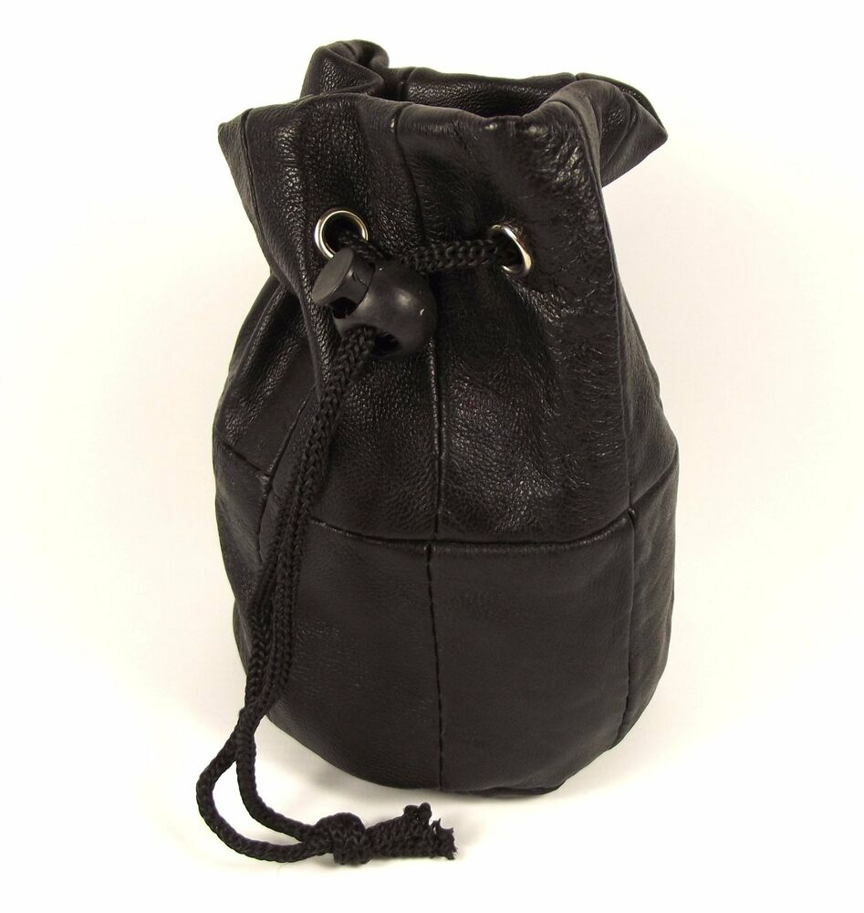 Black Real Leather Pouch Drawstring Wrist Bag Coin Purse