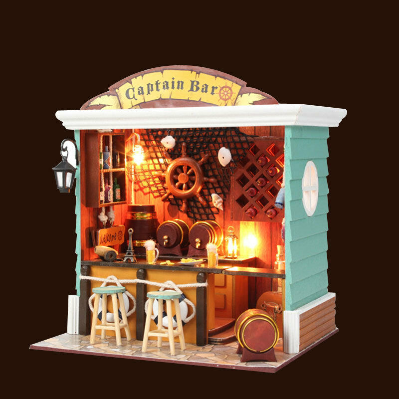 DIY Wooden Dollhouse 3D Kit Miniature House Model Captain Bar + Glass ...