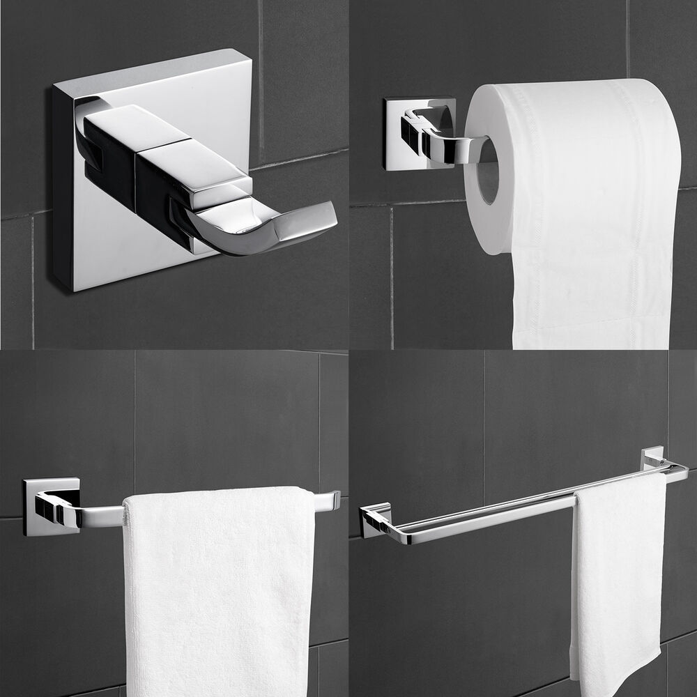 Modern brass chrome finish bathroom accessory sets 4 for Bathroom hardware sets