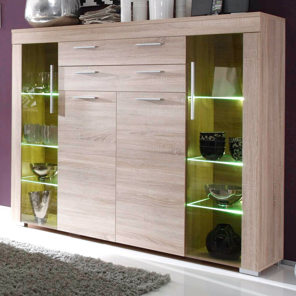 kommode highboard boom sonoma eiche s ugerau schrank vitrine led beleuchtung ebay. Black Bedroom Furniture Sets. Home Design Ideas