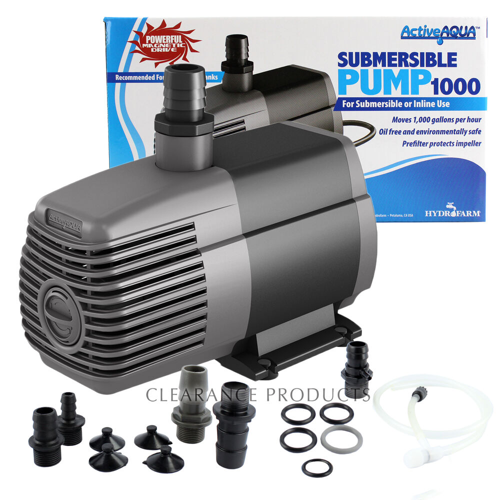 Active aqua 1000 gph subersible water pump aquarium for Pond water pump