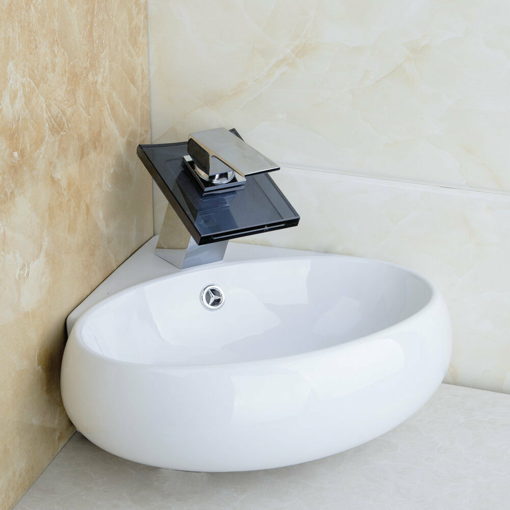 White ceramic abovemount wall mount bathroom vanity sink with waterfall faucet ebay for White porcelain bathroom faucets