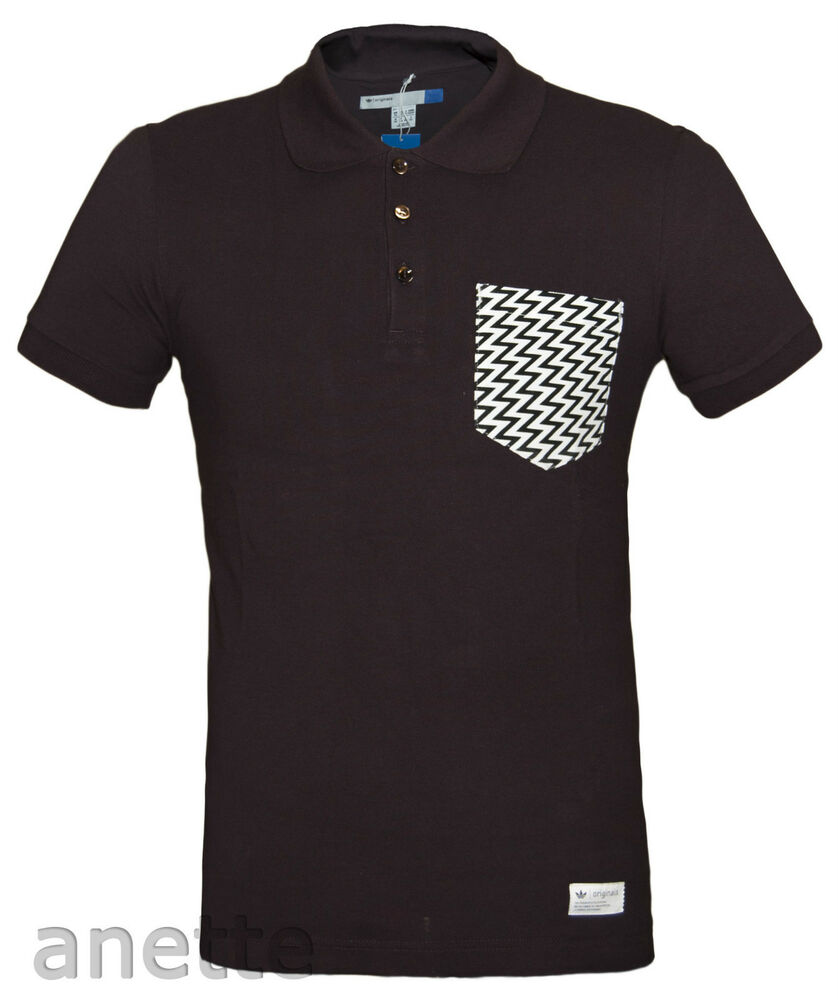 Adidas originals brown colour mens polo shirt patterned for Men s cotton polo shirts with pocket