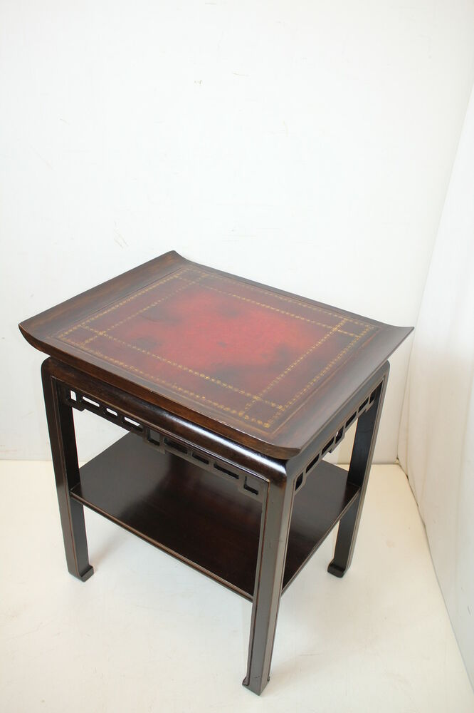 Unique chinese chippendale side end table w leather top for Unique end tables