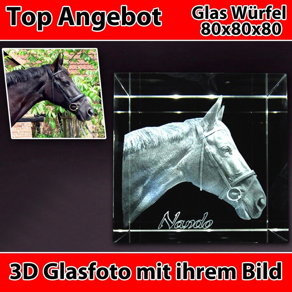 c80 glas 3d laser foto gravur geschenkidee 2d in 3d zum geburtstag pferd hund ebay. Black Bedroom Furniture Sets. Home Design Ideas