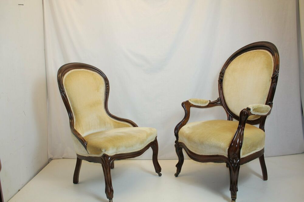 Antique Pair of Victorian Rosewood Ladies & Gentleman Chairs Circa 1880's - Antique Rosewood Chair EBay