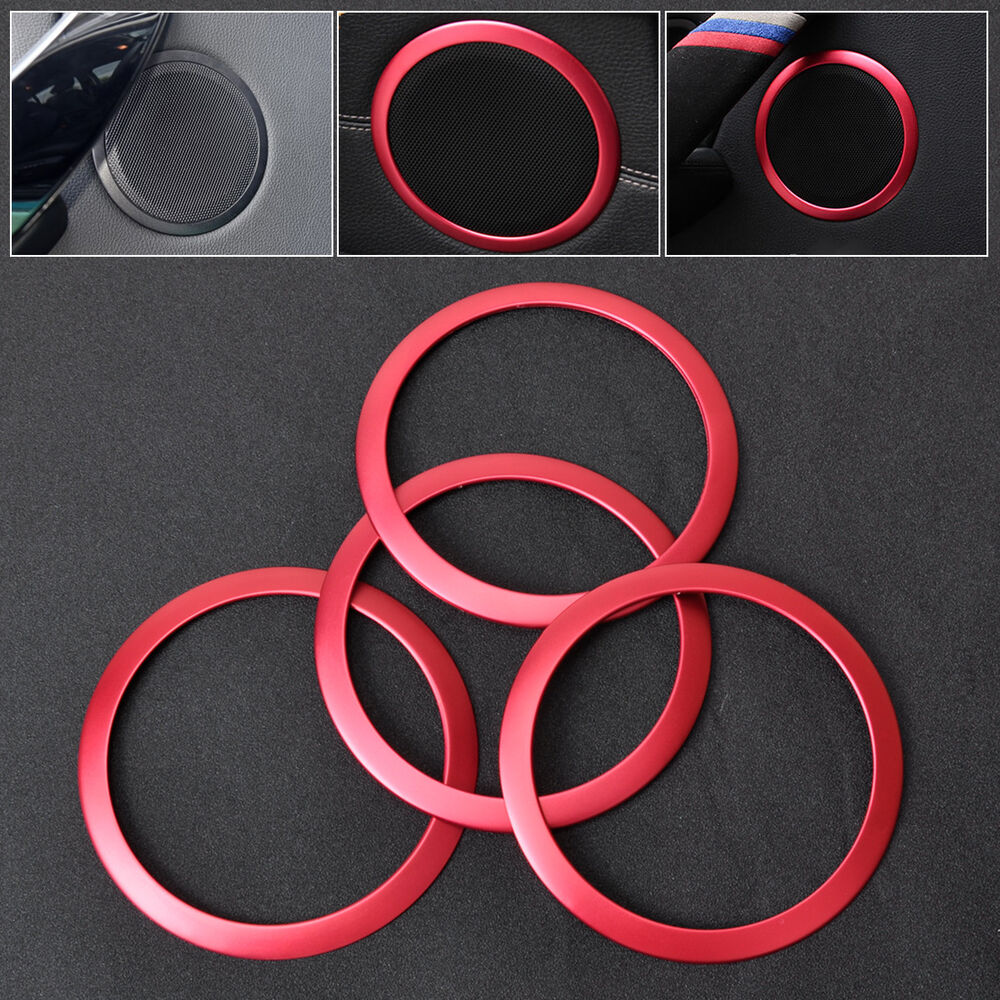 red 4x car interior door stereo speaker trim cover ring for bmw 3 series f30 f34 ebay. Black Bedroom Furniture Sets. Home Design Ideas