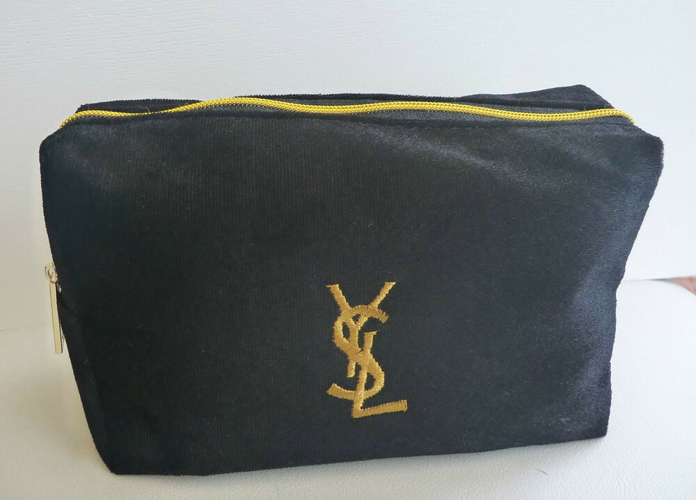 Ysl Black And Gold Makeup Cosmetics Bag Brand New 100
