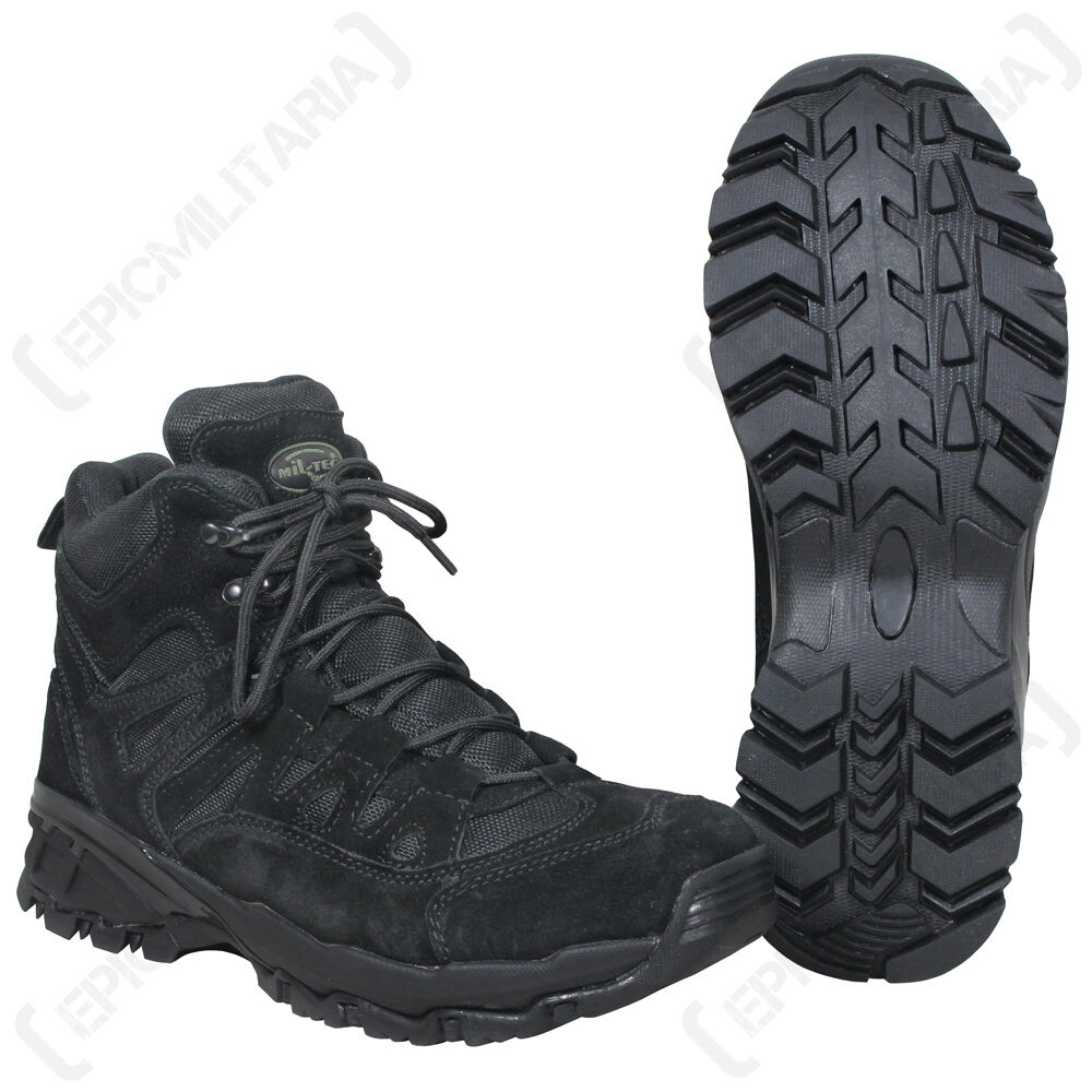 BLACK Military SQUAD Boots - All Sizes Army Combat Style Mid Height ...