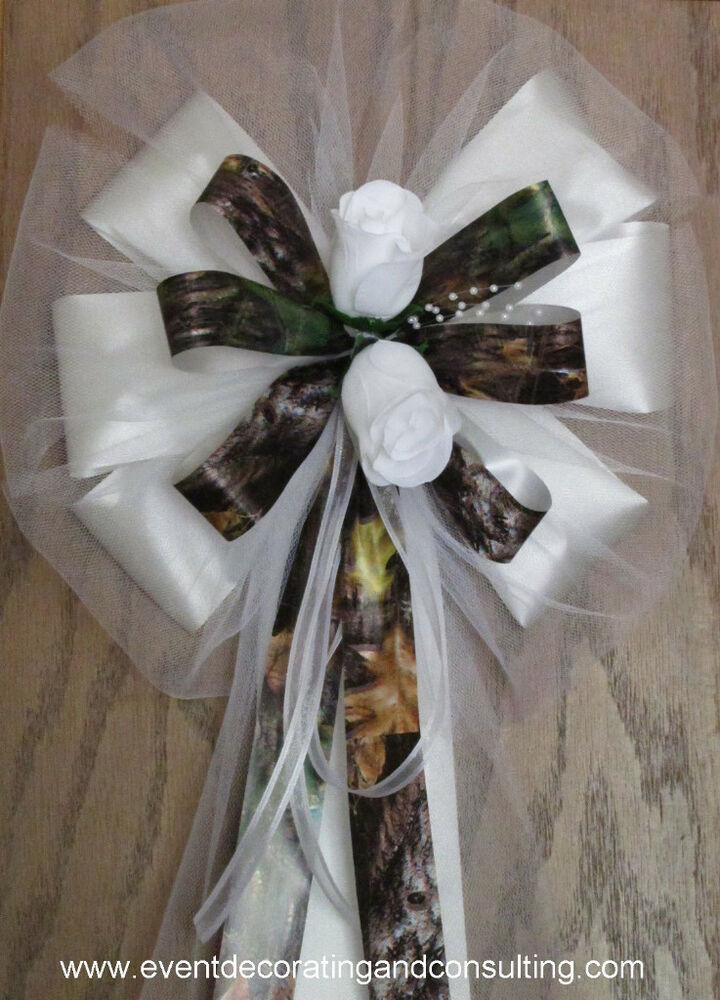 mossy oak wedding decorations 6 white roses mossy oak up pew bows for occasions ebay 6022