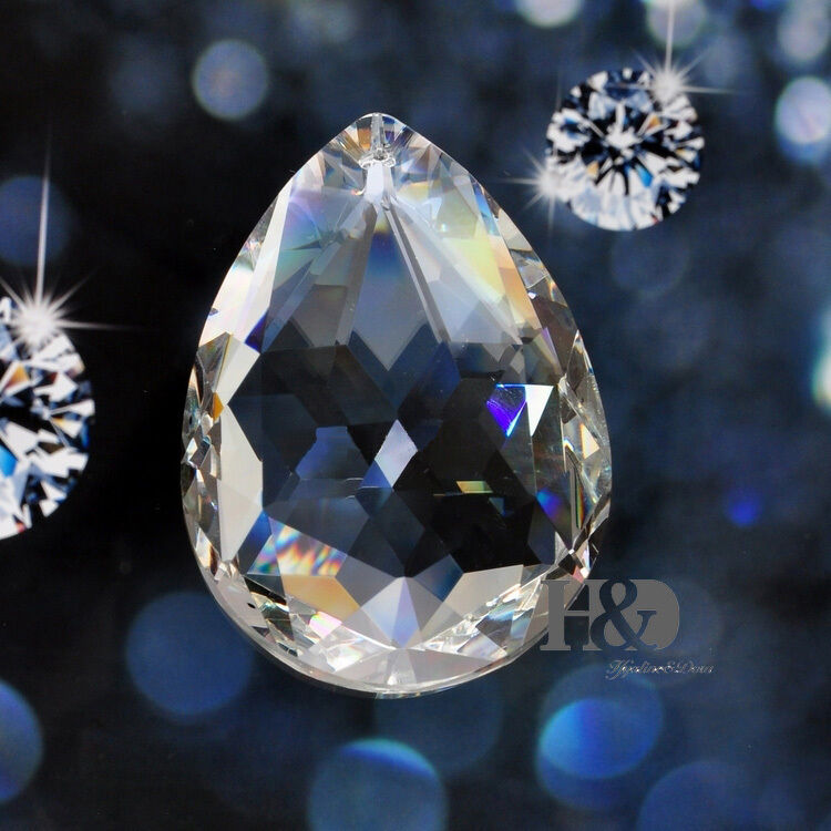 Crystal Chandelier Accessories: 5 Clear Chandelier Glass Crystals Lamp Prisms Parts