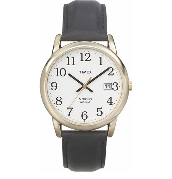 Timex indiglo watch with date gold with leather band black numbers white face ebay for Indiglo watches