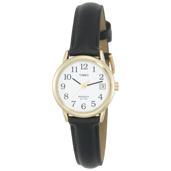 Timex women 39 s indiglo watch gold with date leather band ebay for Indiglo watches