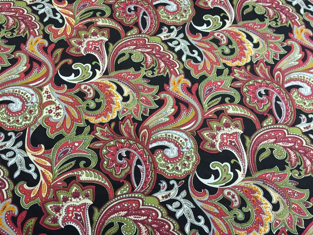 Cotton Lawn Fabric - Black with Floral Multicoloured ...