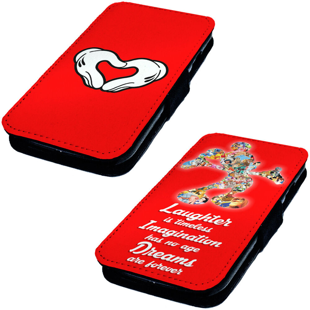 Mickey mouse inspired designs printed faux leather flip for Case design