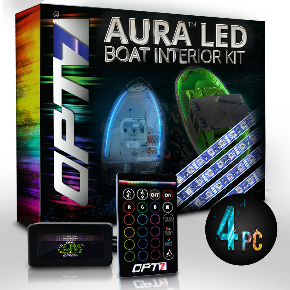 6pc Car Interior Neon Underglow Accent Light Kit: OPT7 4pc LED Boat Interior Lighting Strip Kit Multi Color
