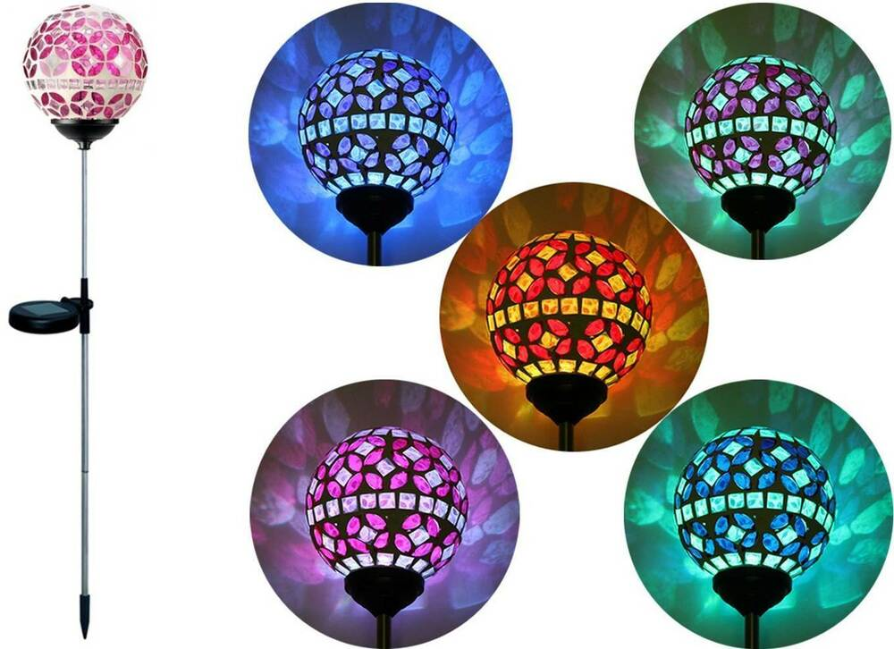 Solar pink glass ball garden stake outdoor yard lawn color changing led light ebay for Solar garden stakes color changing