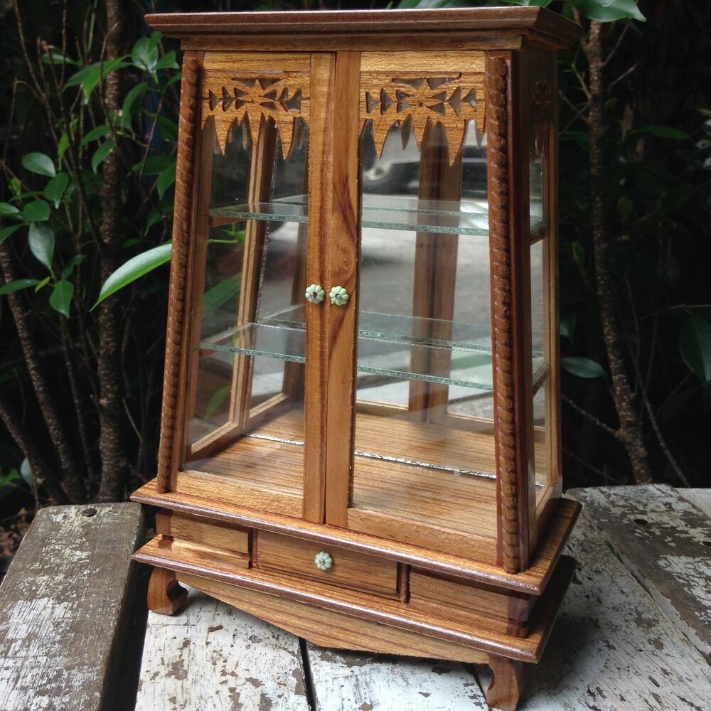 Small Vintage Teak Wood Cabinet Craft Handmade Carved Thai Cupboard Furniture 2 Ebay