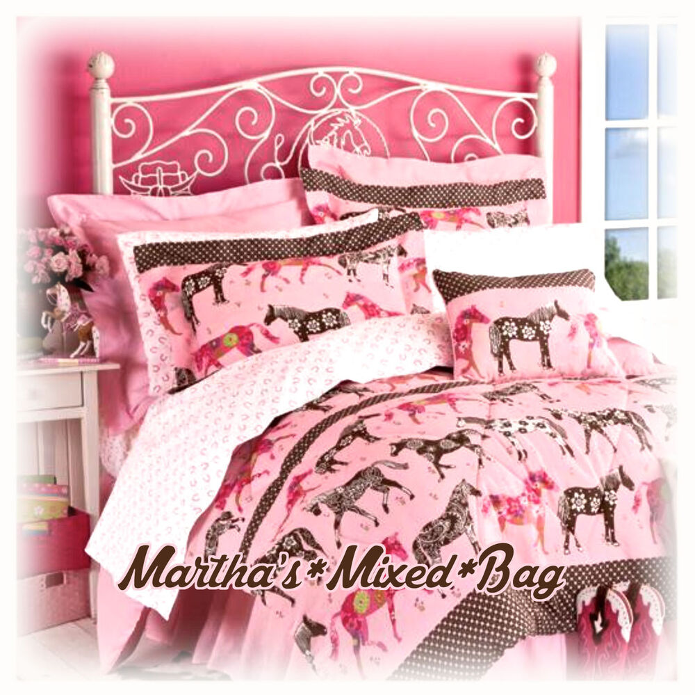 western horse mustang pony flower girls pink comforter set twin full queen sizes ebay. Black Bedroom Furniture Sets. Home Design Ideas