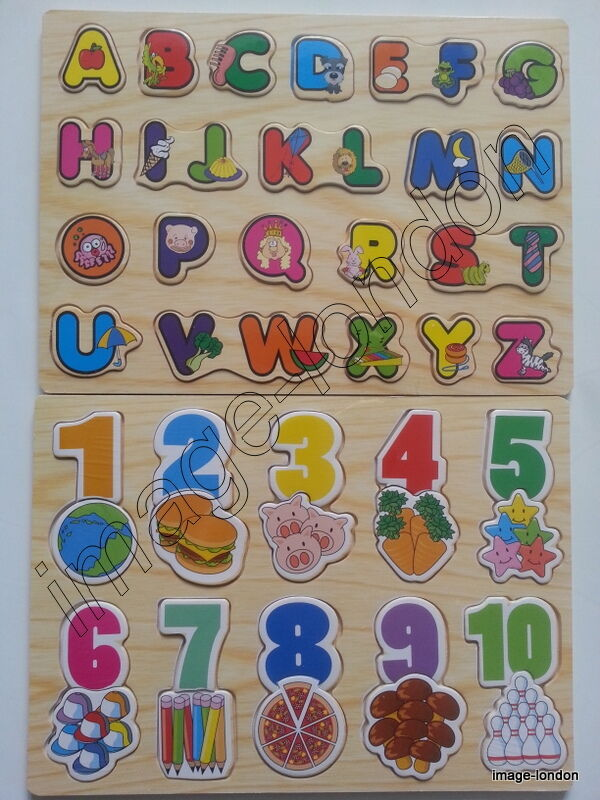 Children kids learning wooden abc letters alphabet or 123 for Number and letter puzzles