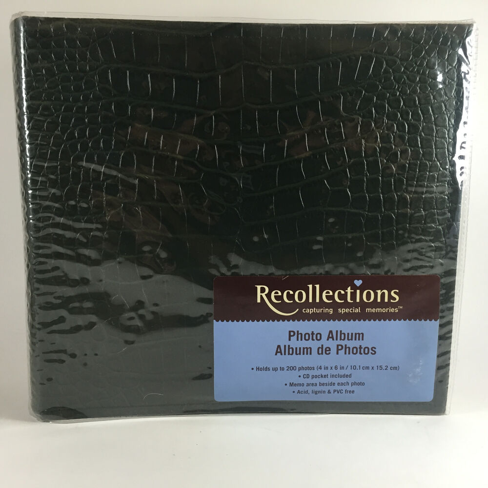 green faux leather recollections photo album 200 photos includes cd pocket ebay. Black Bedroom Furniture Sets. Home Design Ideas