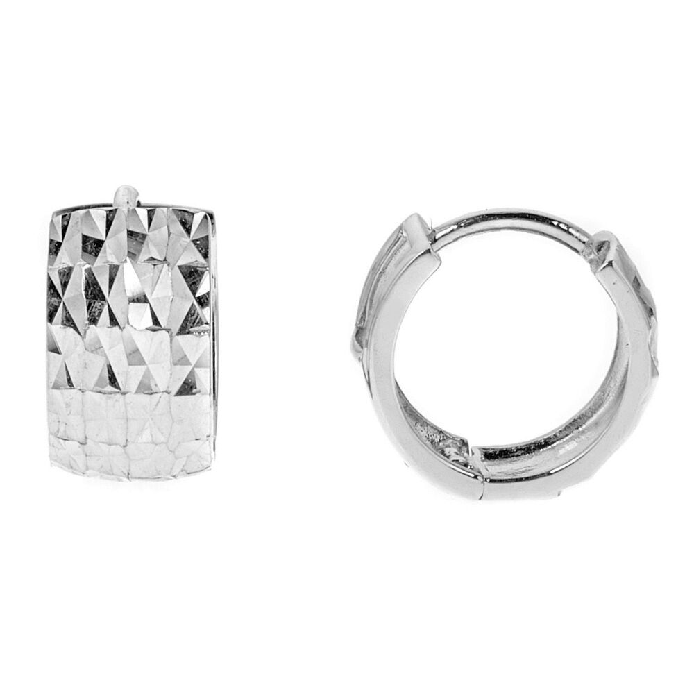 White Gold Diamond Cut Hoop Earrings