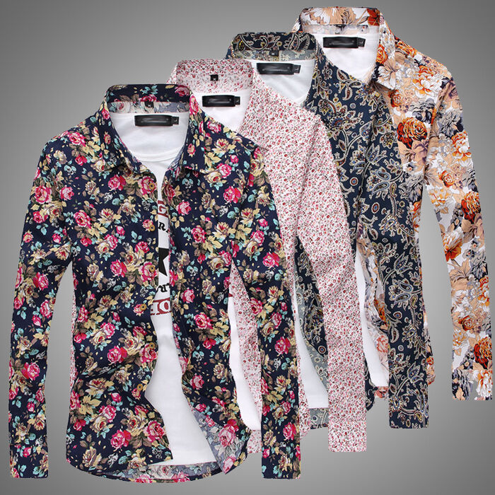 Fashion Mens Luxury Casual Floral Long Sleeve Slim Fit
